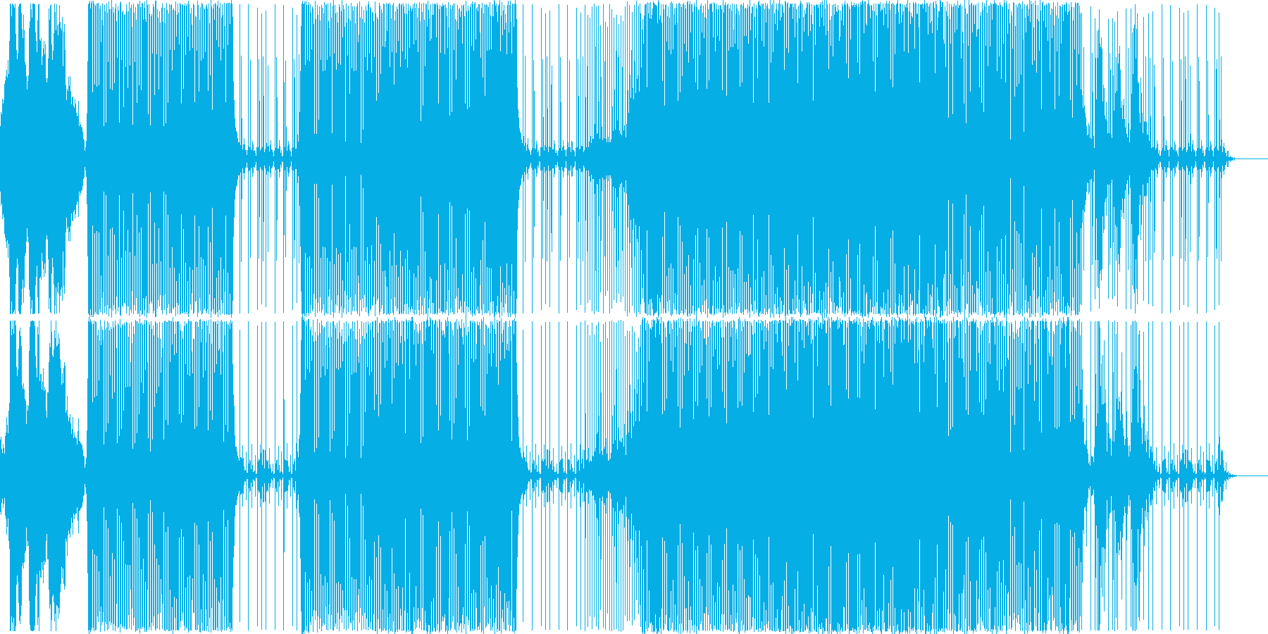ミステリアスなキック強めのハウスBGMの再生済みの波形