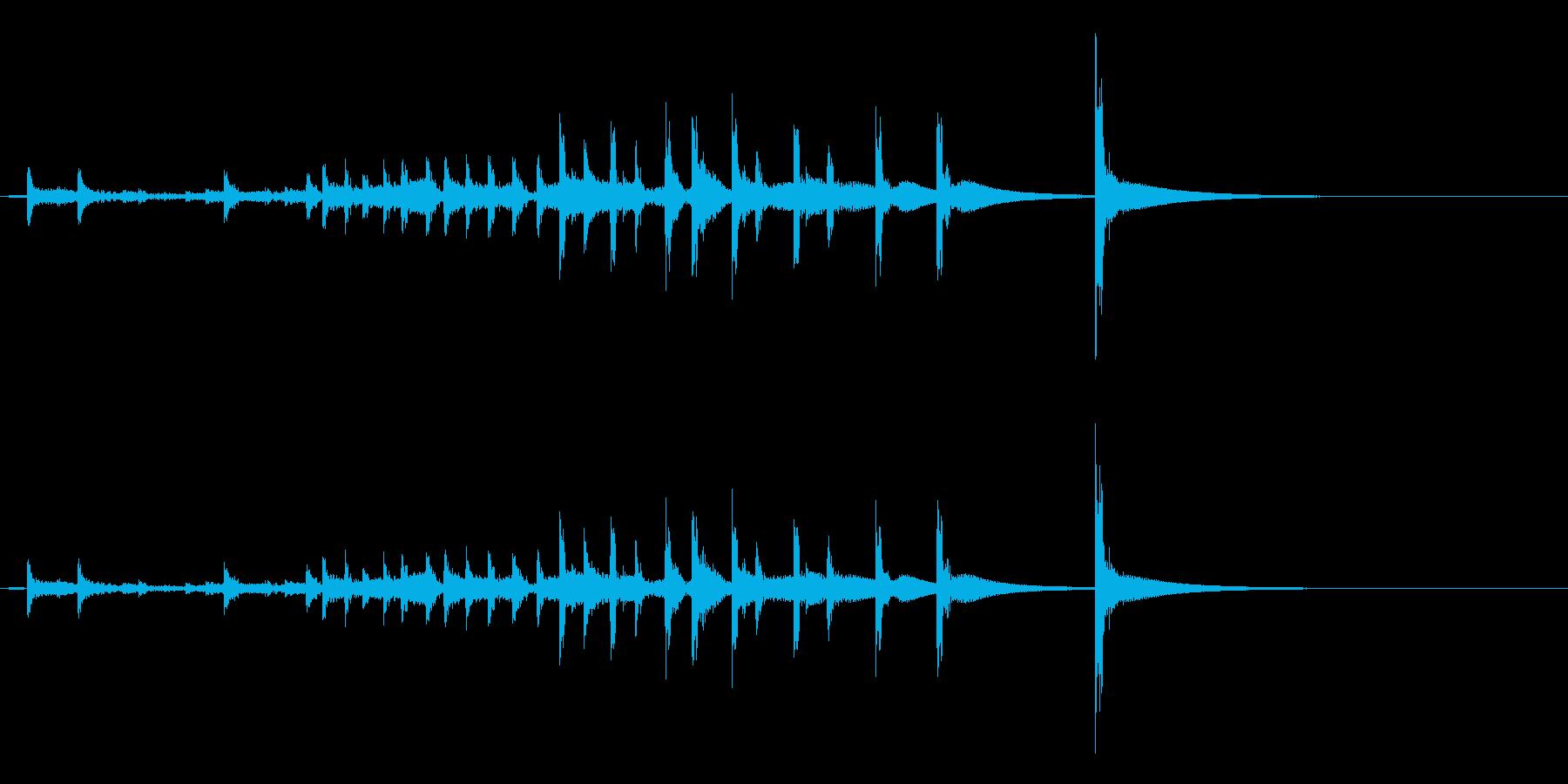 うちわ太皷の連打フレーズ音の再生済みの波形