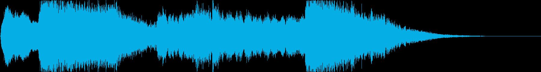 和風ロゴ・尺八と和太鼓・刀の抜刀イメージの再生済みの波形
