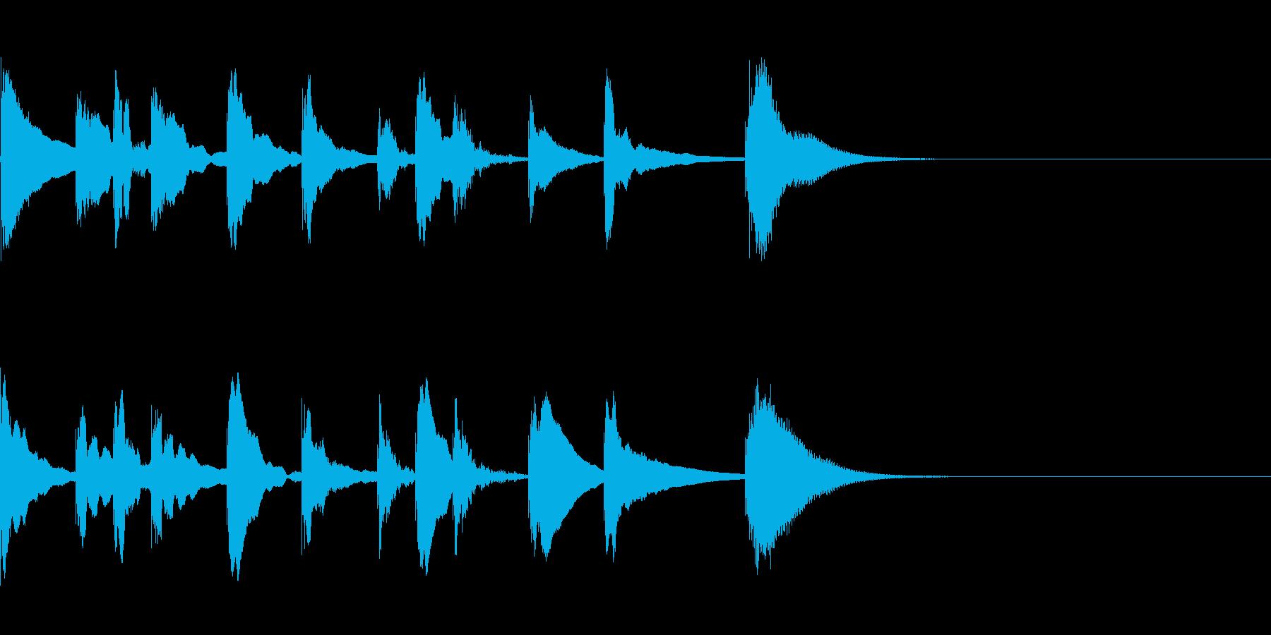 子供向け番組っぽい木琴の3秒ジングルの再生済みの波形