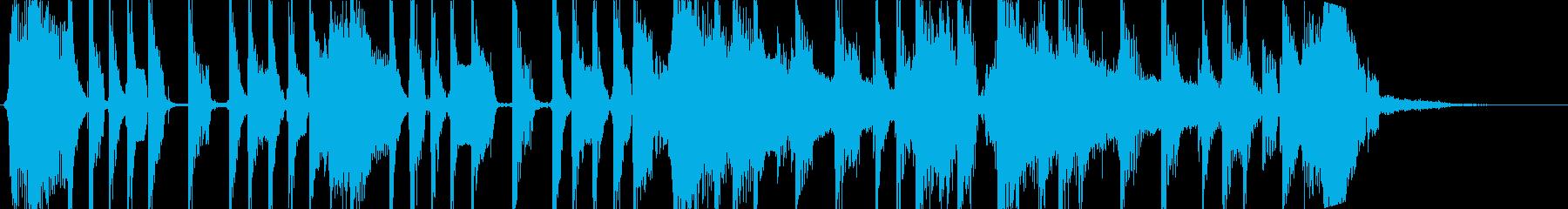 乾いたエレキギターによる短い曲の再生済みの波形