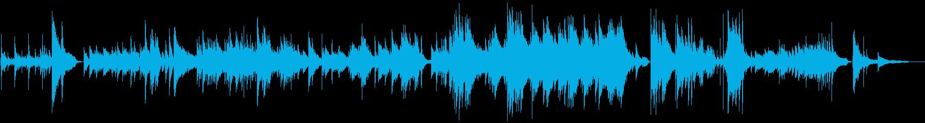 暗く悲しいシーンのピアノ曲の再生済みの波形