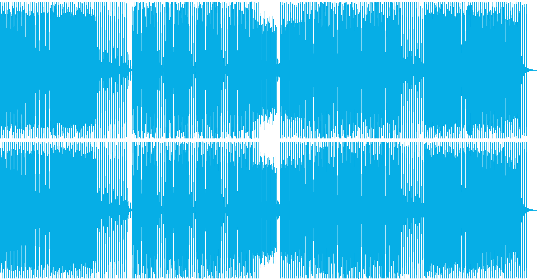 単音メロディーのテクノサウンドの再生済みの波形