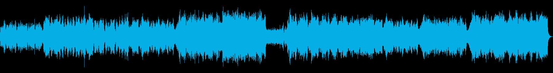 フルートとストリングスの明るい曲の再生済みの波形