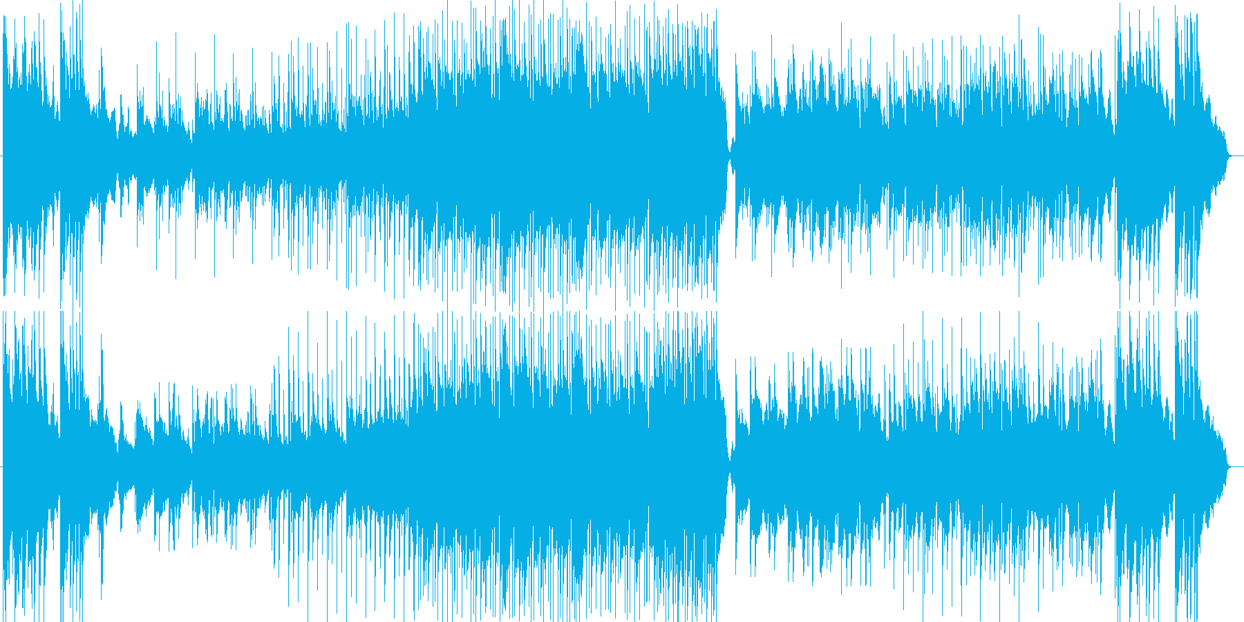 ドラマチックなシンセサイザー楽曲の再生済みの波形