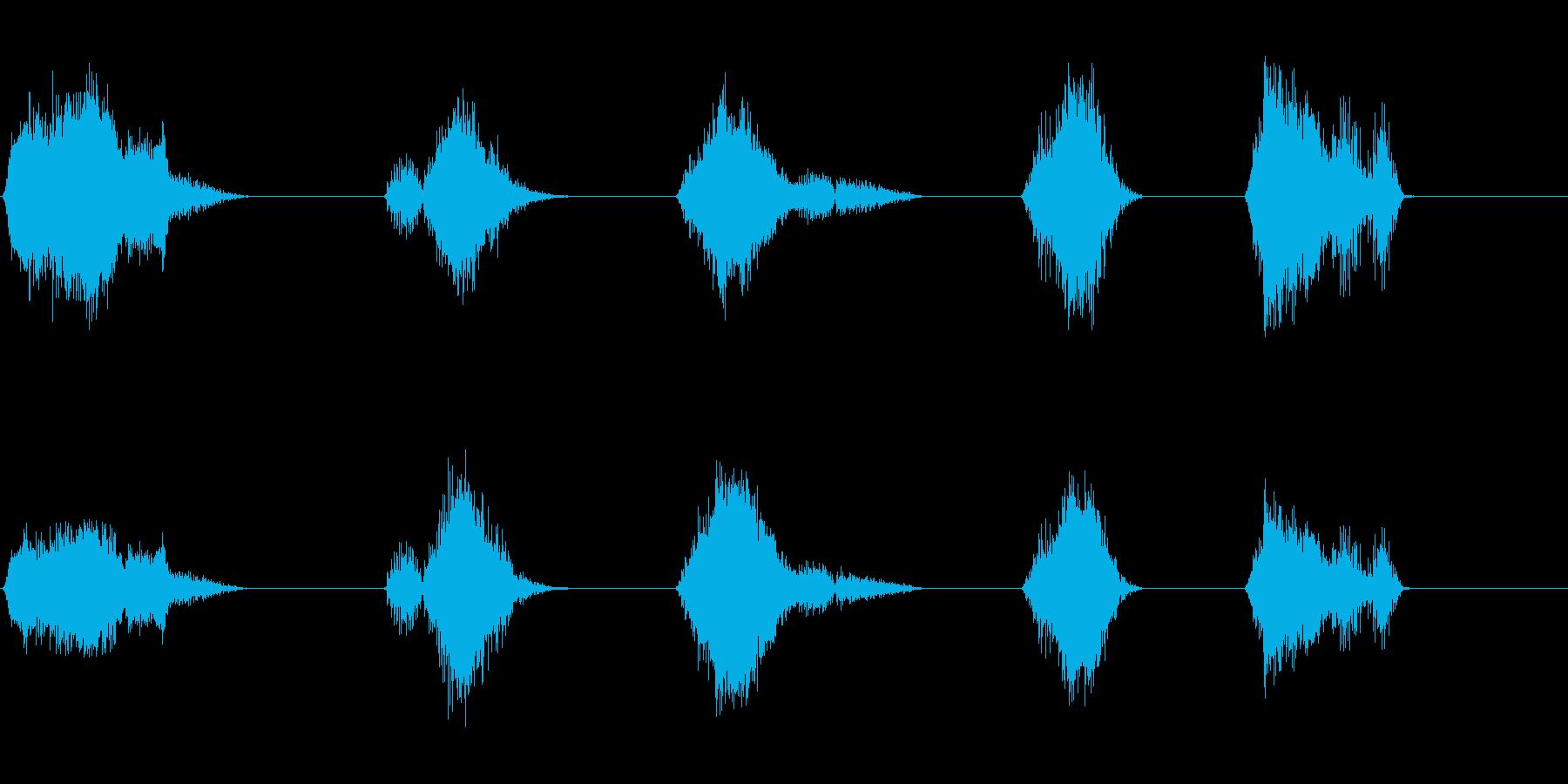恐竜の叫び;不気味で低く、リバーブ...の再生済みの波形