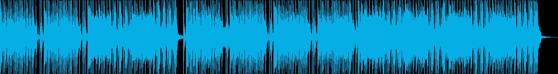ドラムのリズムに軽快なキーボードの再生済みの波形