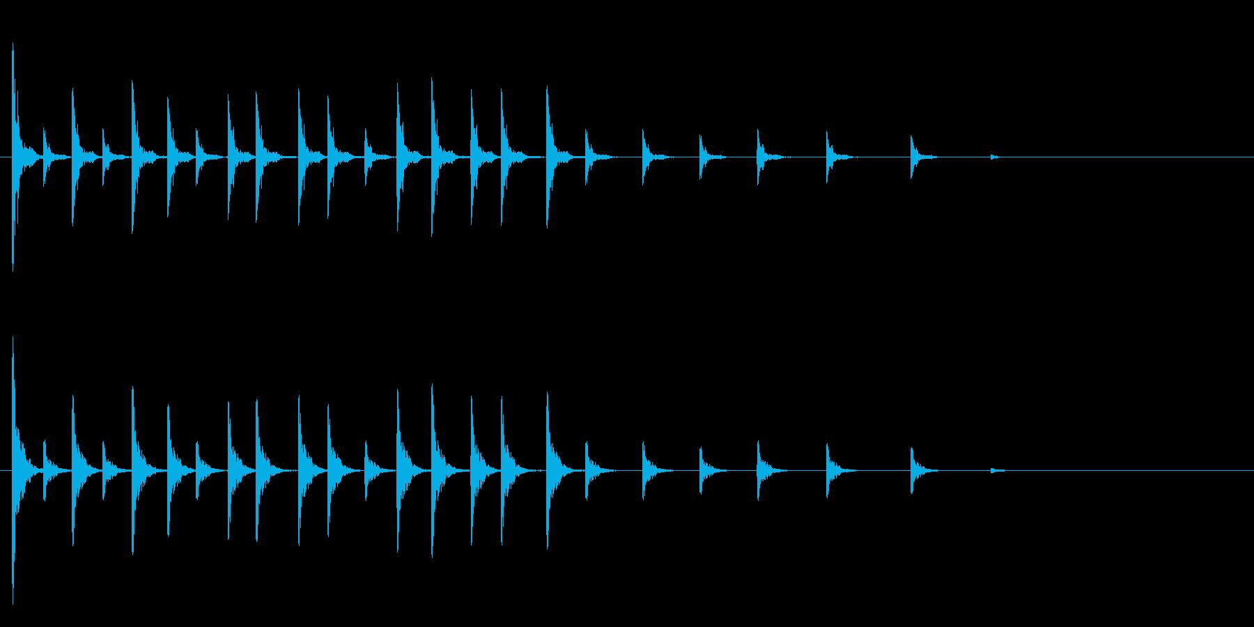 軽快な木鉦(もくしょう)のフレーズ音の再生済みの波形