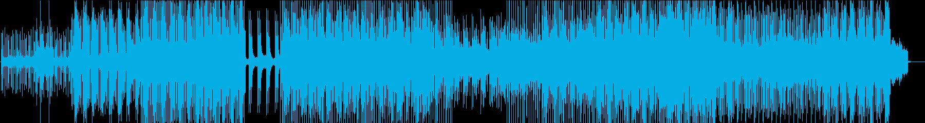 相反した音が混ざったテクノの再生済みの波形