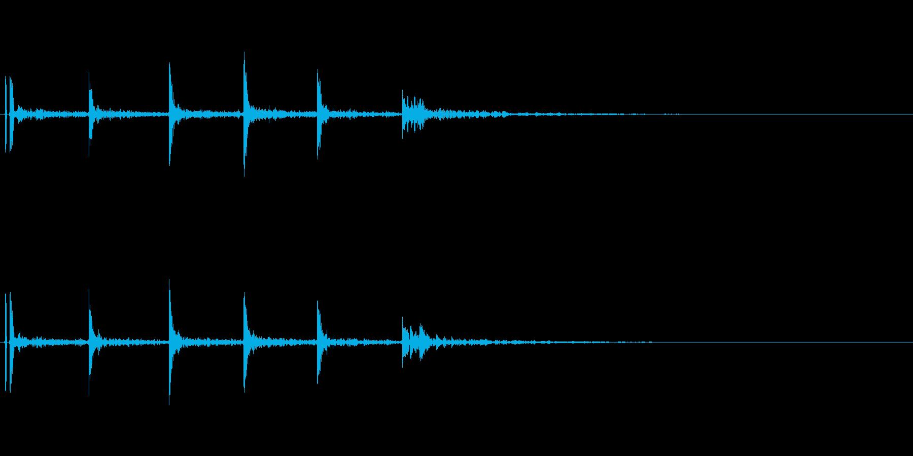 バスケットボールの軽いドリブル音01の再生済みの波形