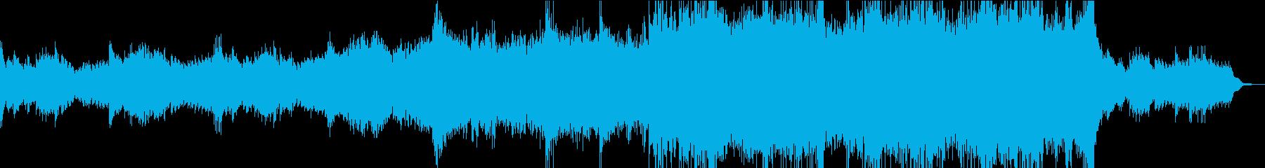 ピアノのシーケンスから盛り上がる曲の再生済みの波形