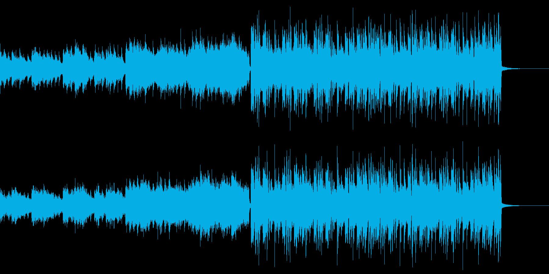 軽快で回転しているような変則ビートの再生済みの波形