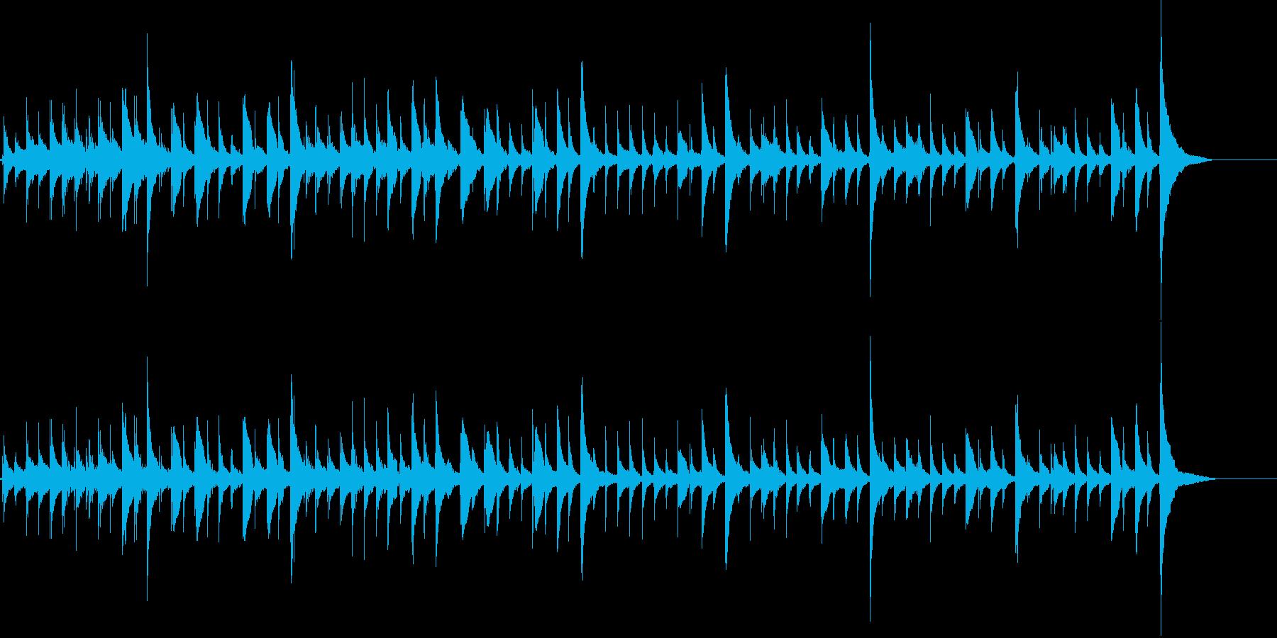 カリンバのやさしい音色とパーカッションの再生済みの波形