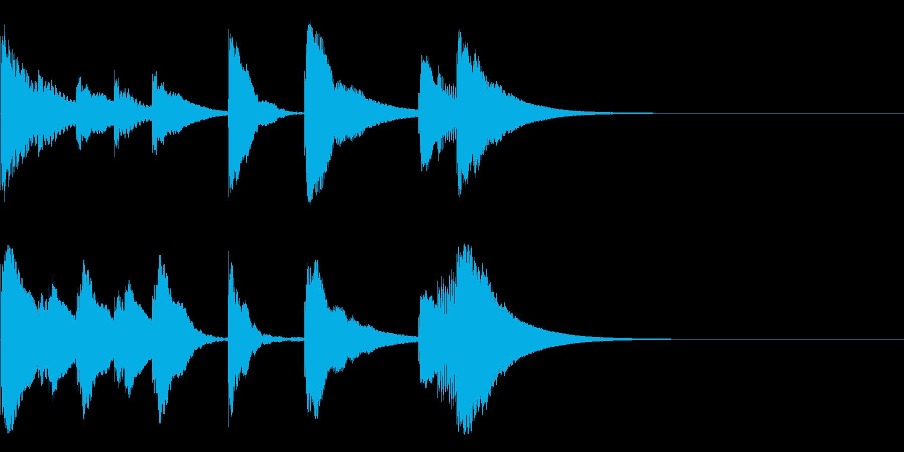 シロフォンのかわいい3秒ジングルの再生済みの波形