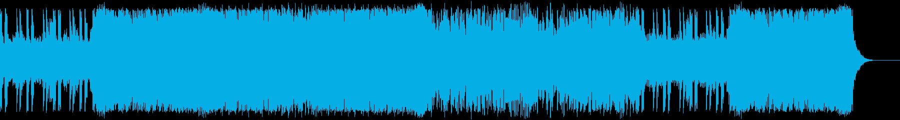 スピード感のあるロックBGMの再生済みの波形