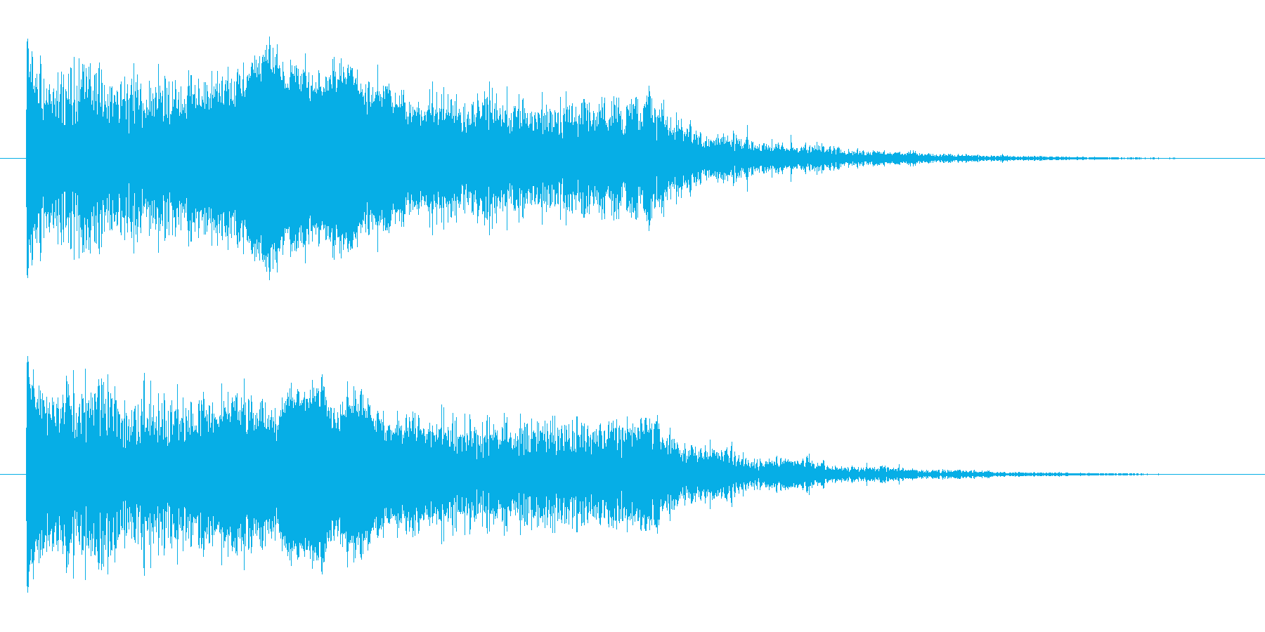 「バーン」と深い残響のシリアスな衝撃音の再生済みの波形