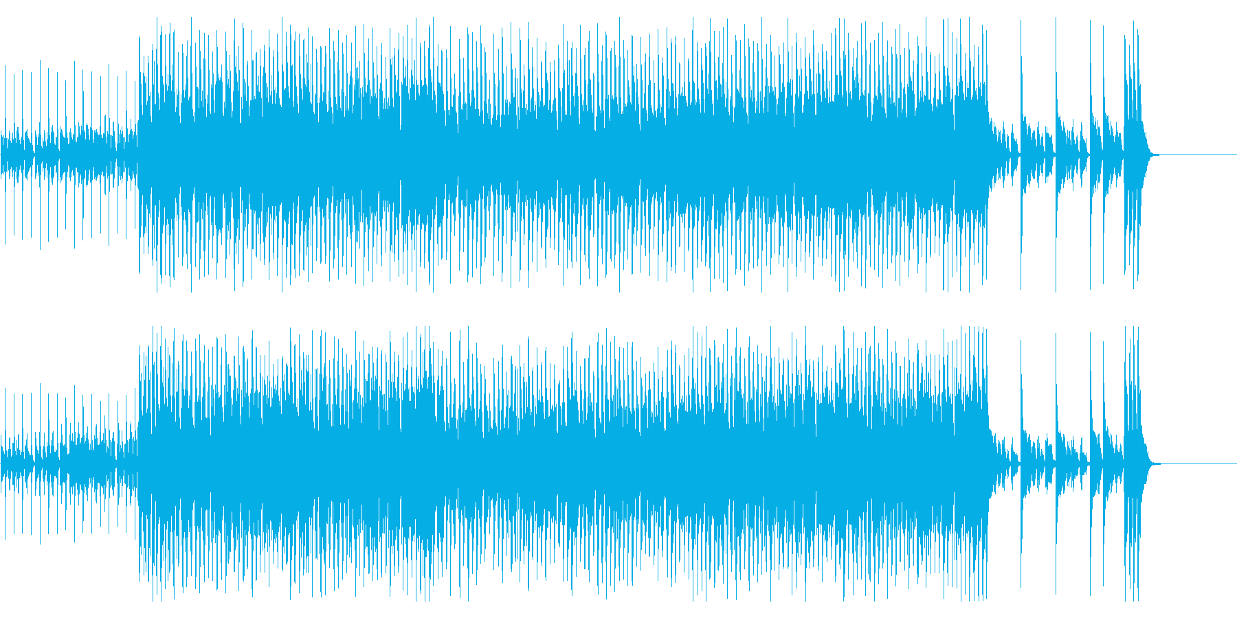 ジャズ系アップテンポのシャッフル曲の再生済みの波形
