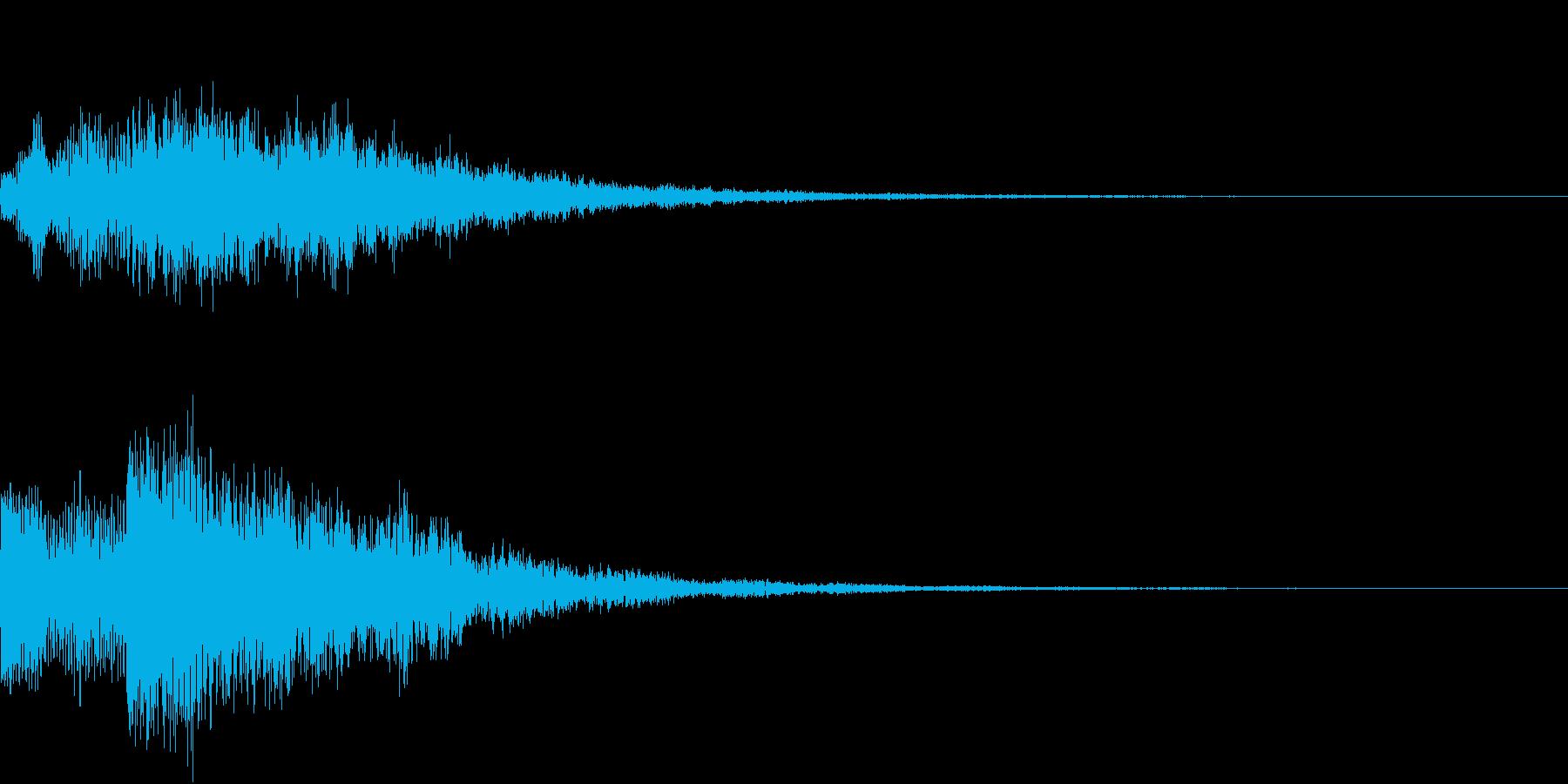 バブルヒット低ボーカルトーンとベルのロゴの再生済みの波形