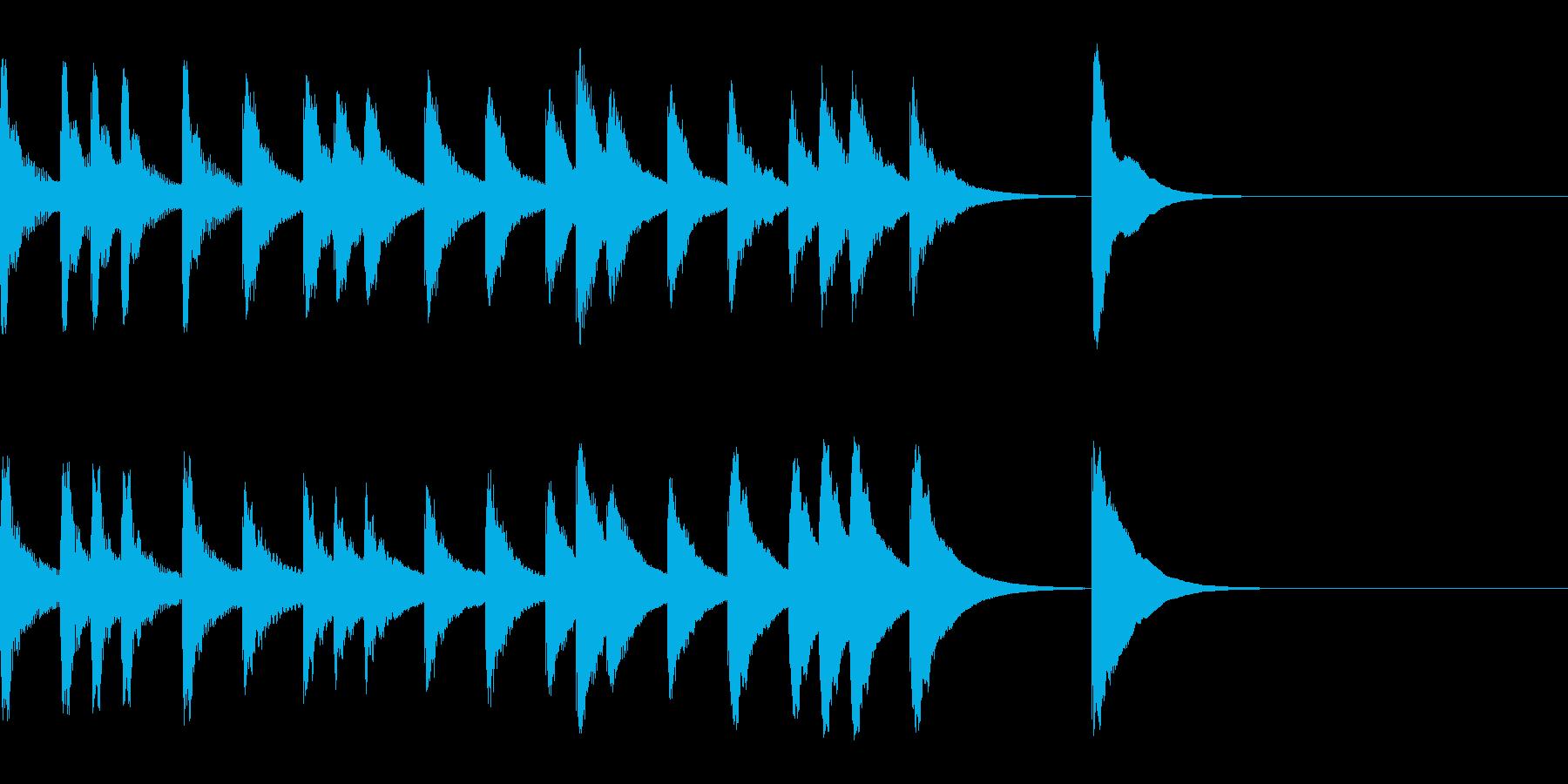 すこし間を持たせるジングル6秒の再生済みの波形
