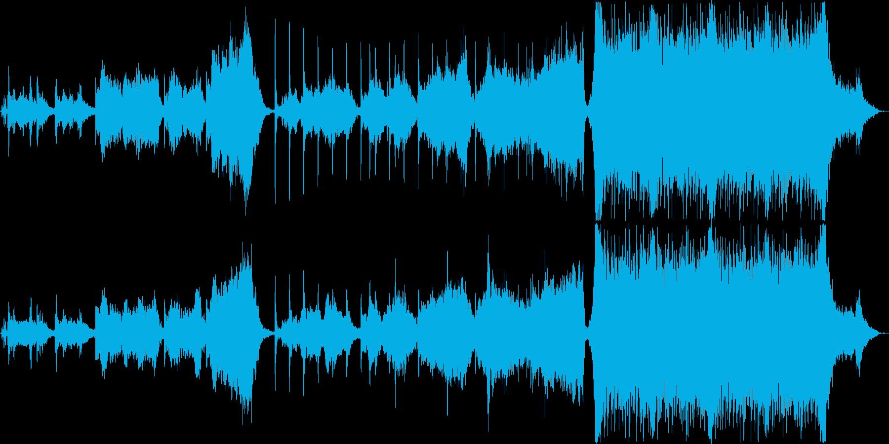 静かな尺八と琴から壮大なオーケストラ編成の再生済みの波形