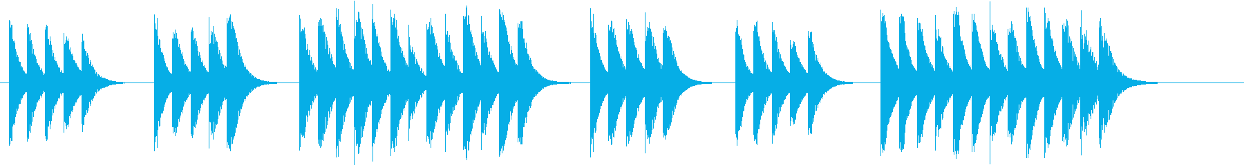 木琴で作ったコミカルで短い曲の再生済みの波形