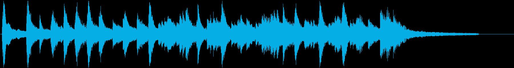 安らぎ、安心、静かなピアノ40秒残響なしの再生済みの波形
