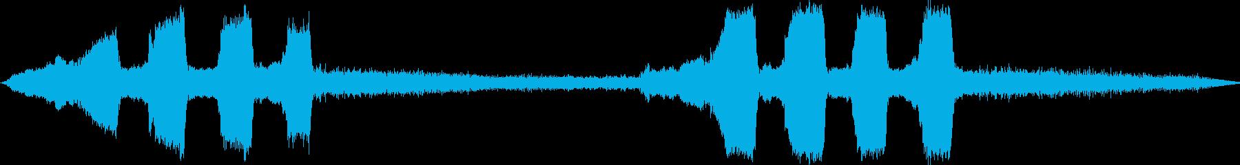 踏切警報音とセミの鳴き声です。の再生済みの波形