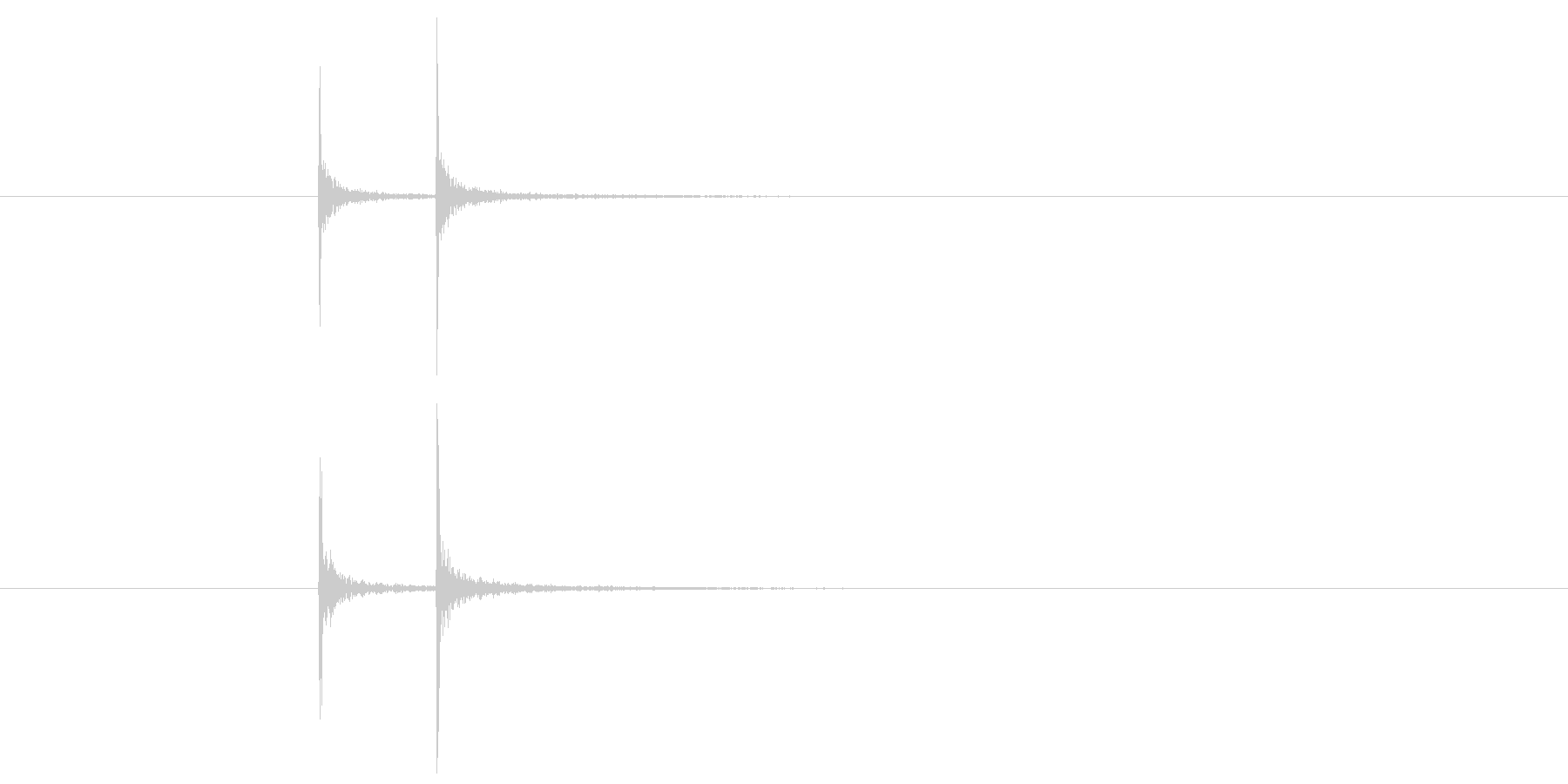 「カカン」という2発の軽い太鼓の縁の音の未再生の波形