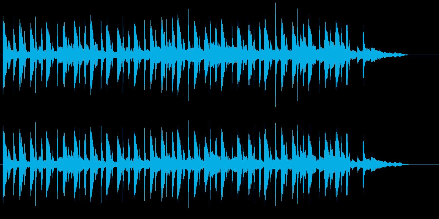 ギターアルペジオとピアノの再生済みの波形