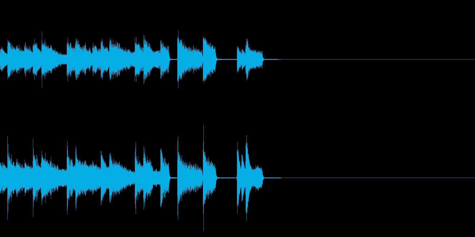 ピアノのパキパキとしたジングルの再生済みの波形