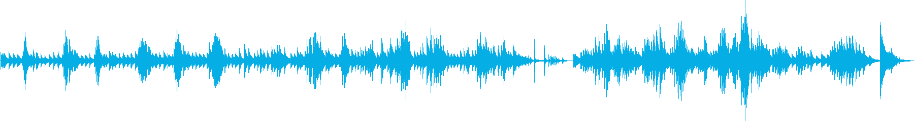 悲劇的でムーディなピアノソロ曲の再生済みの波形