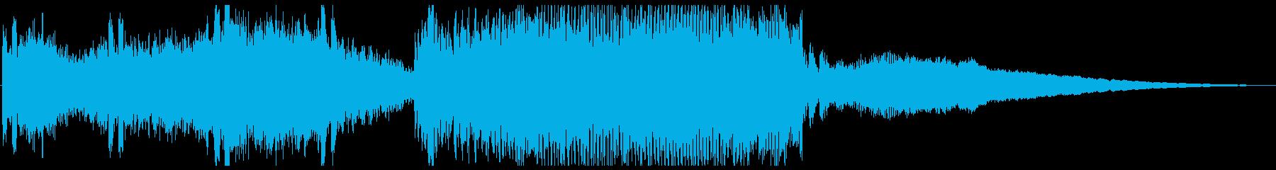 始まりで盛り上がるデジタルBGMの再生済みの波形
