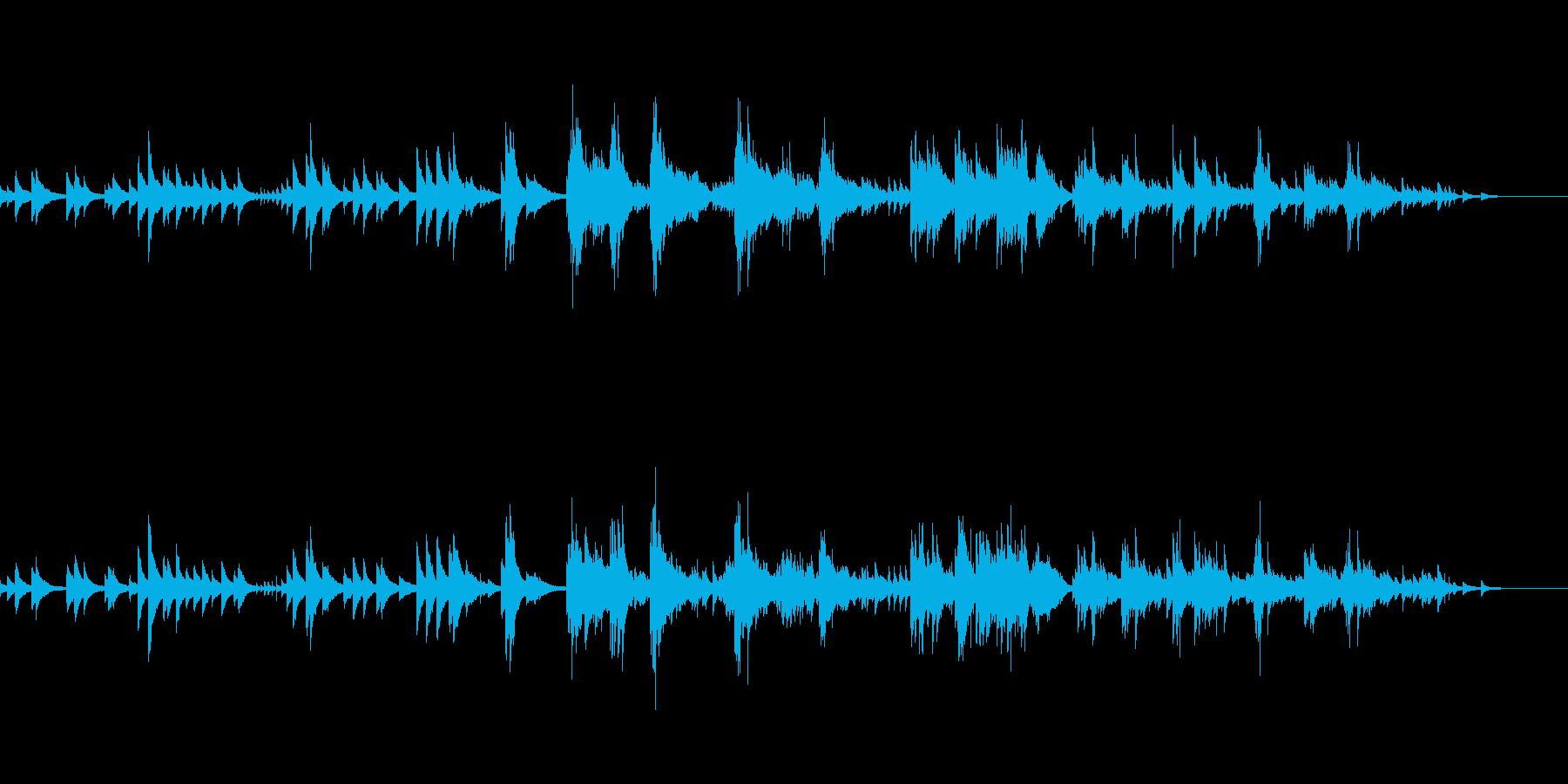のんびりとしたテンポのピアノ曲の再生済みの波形