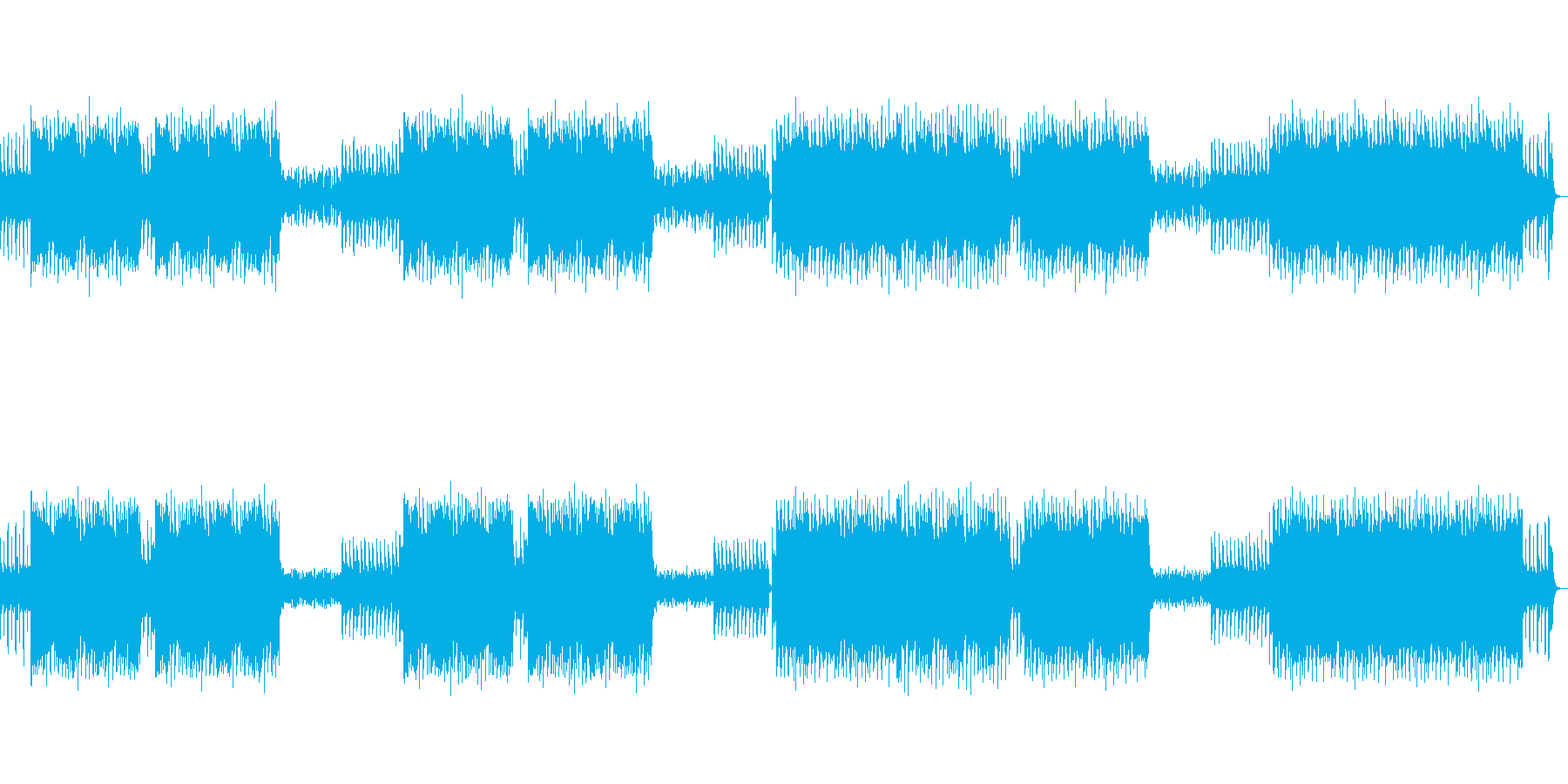 シンセサイザーを使用したノリのいいBGMの再生済みの波形
