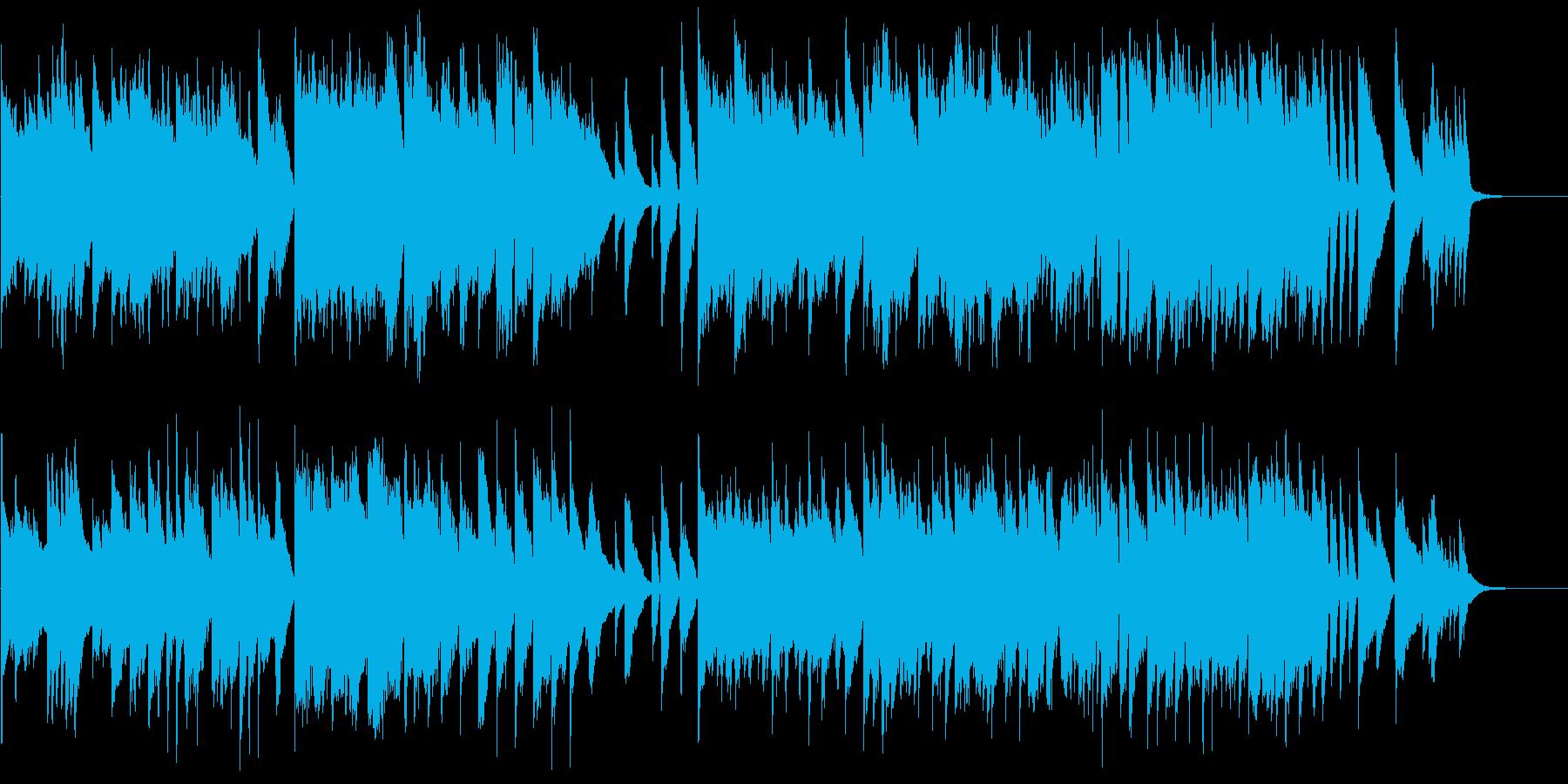 美しい和風ピアノの旋律とロックピアノの再生済みの波形