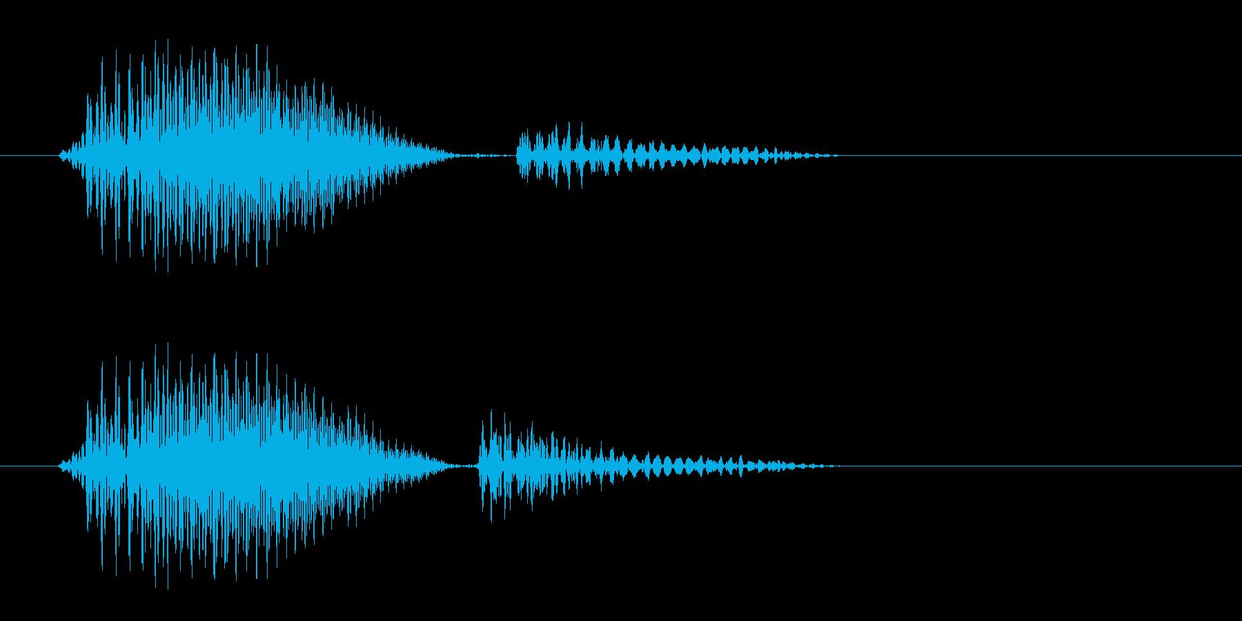 空気が抜けたような音の再生済みの波形