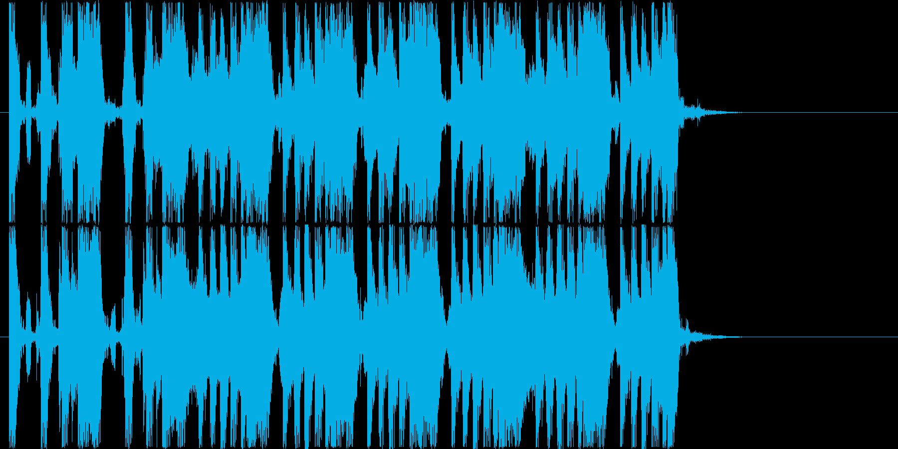 ワイルドなギターが印象的なロック調の曲の再生済みの波形