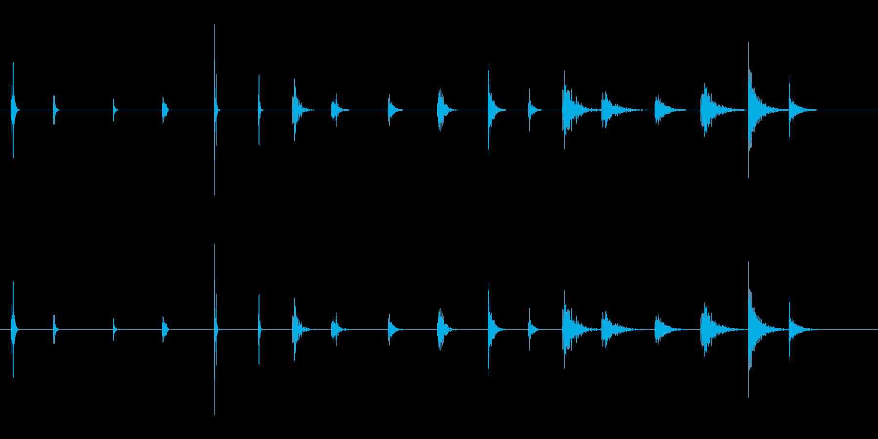 ピープ音とビープ音2の再生済みの波形