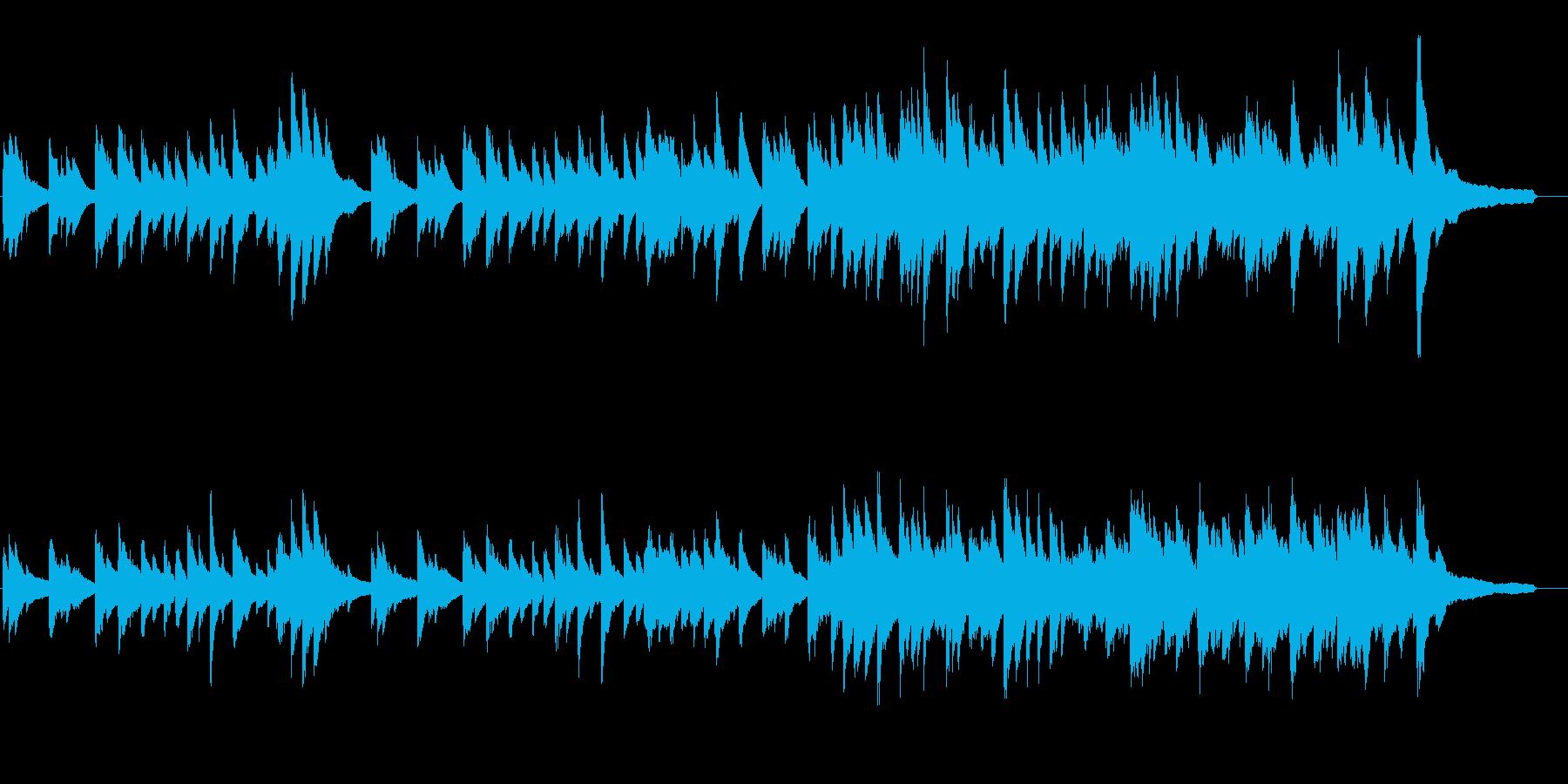 ピアノの、ゆったりした旋律の楽曲の再生済みの波形