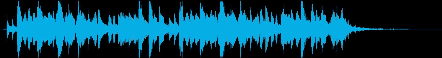 琴、尺八、三味線と祭囃子の和風曲 12秒の再生済みの波形