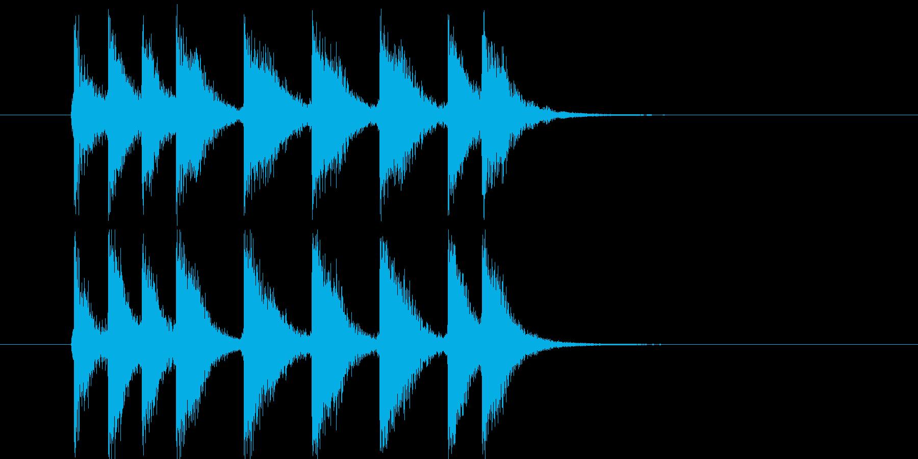 アタック音が元気な短い効果音の再生済みの波形