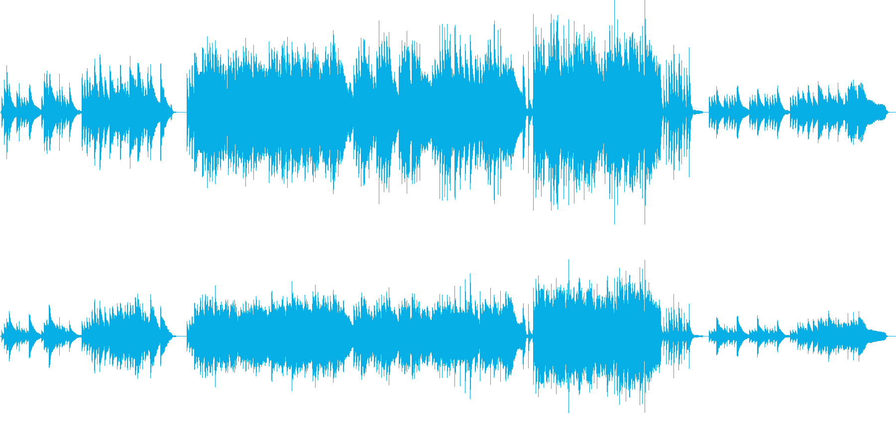 ピアノとストリングスがメインのバラードの再生済みの波形