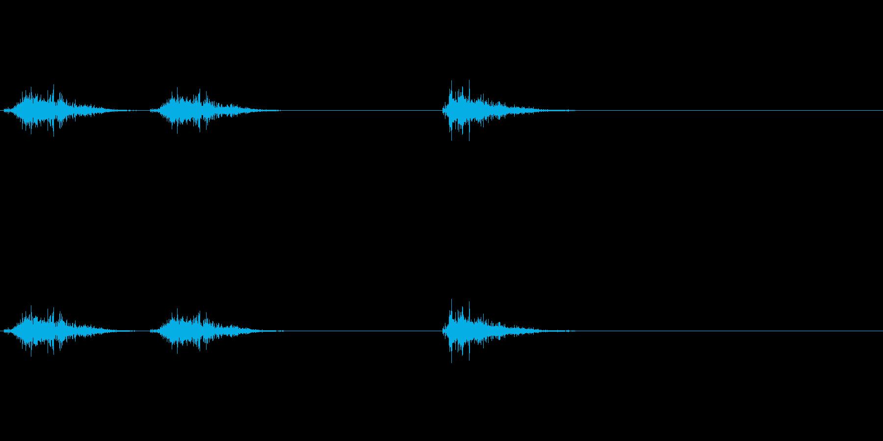 草むらを掻き分けながら進む足音の効果音の再生済みの波形
