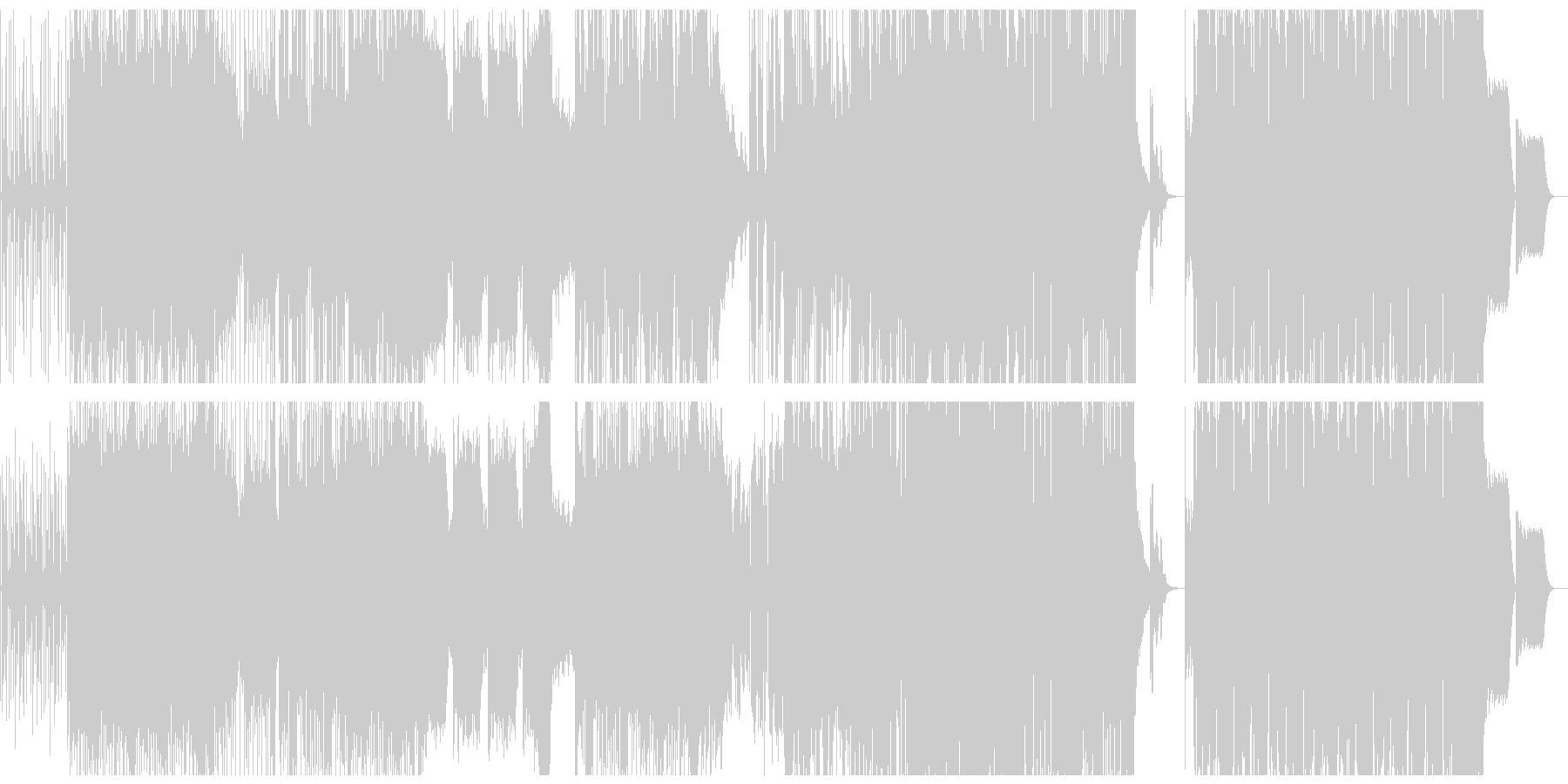 躍動感、疾走感のファンクなBGMの未再生の波形