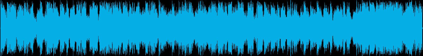 混沌としたリズムを基本にした楽曲です。の再生済みの波形
