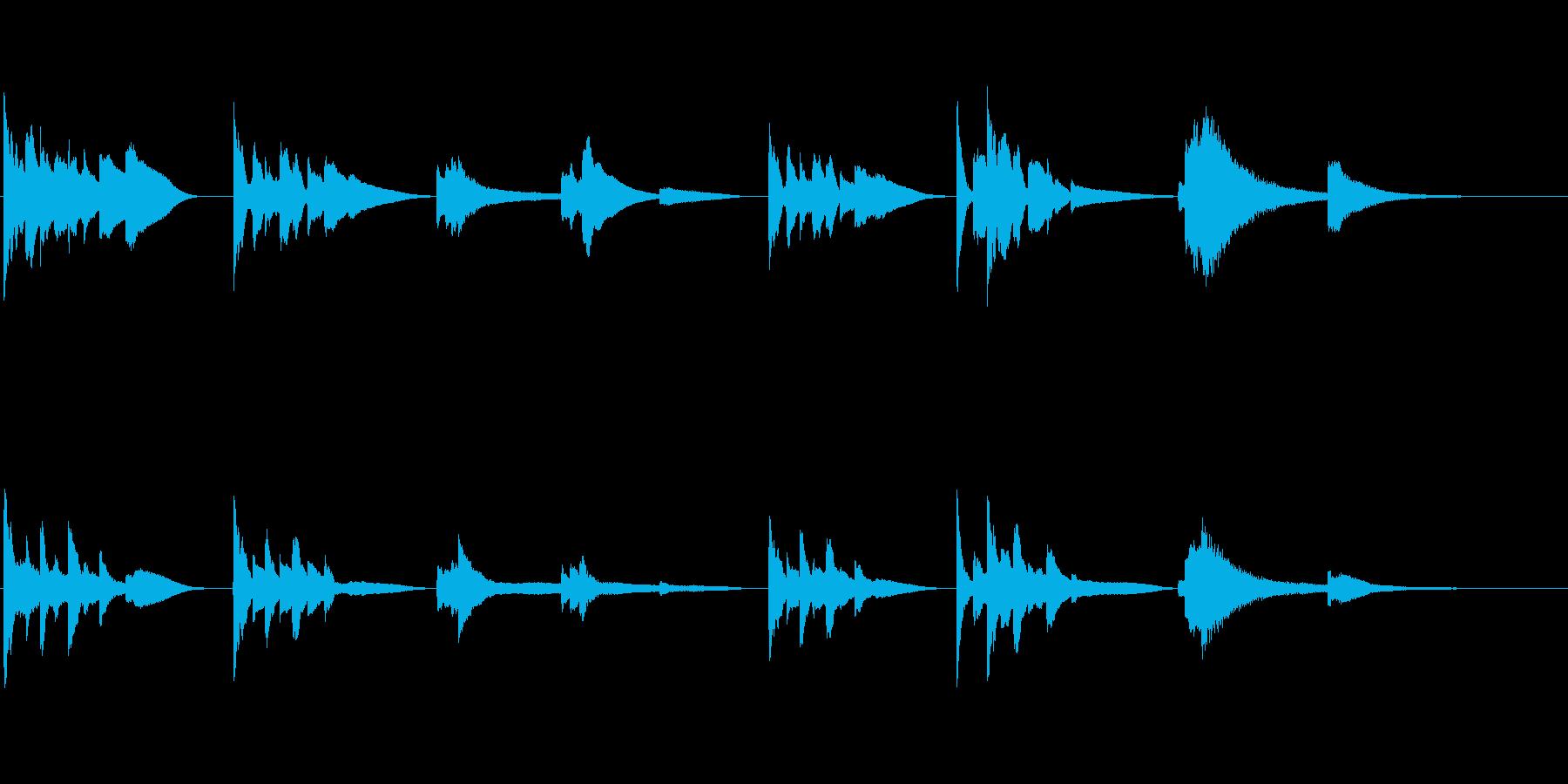 証言・朗読用~ほんわかとした短いピアノ~の再生済みの波形