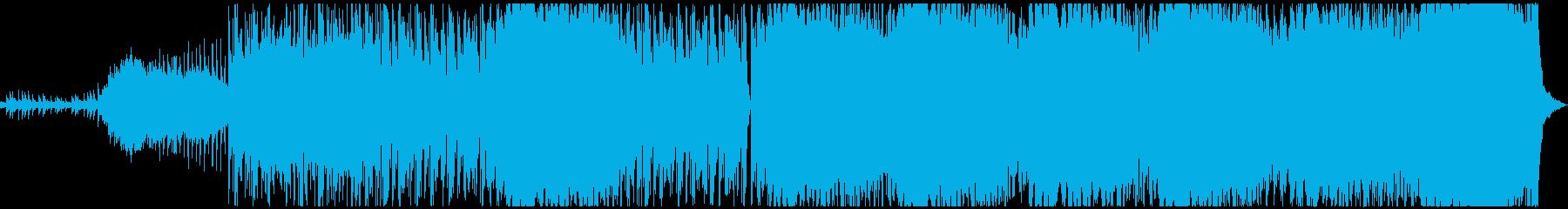 緊迫感あるコンピューターミュージックの再生済みの波形