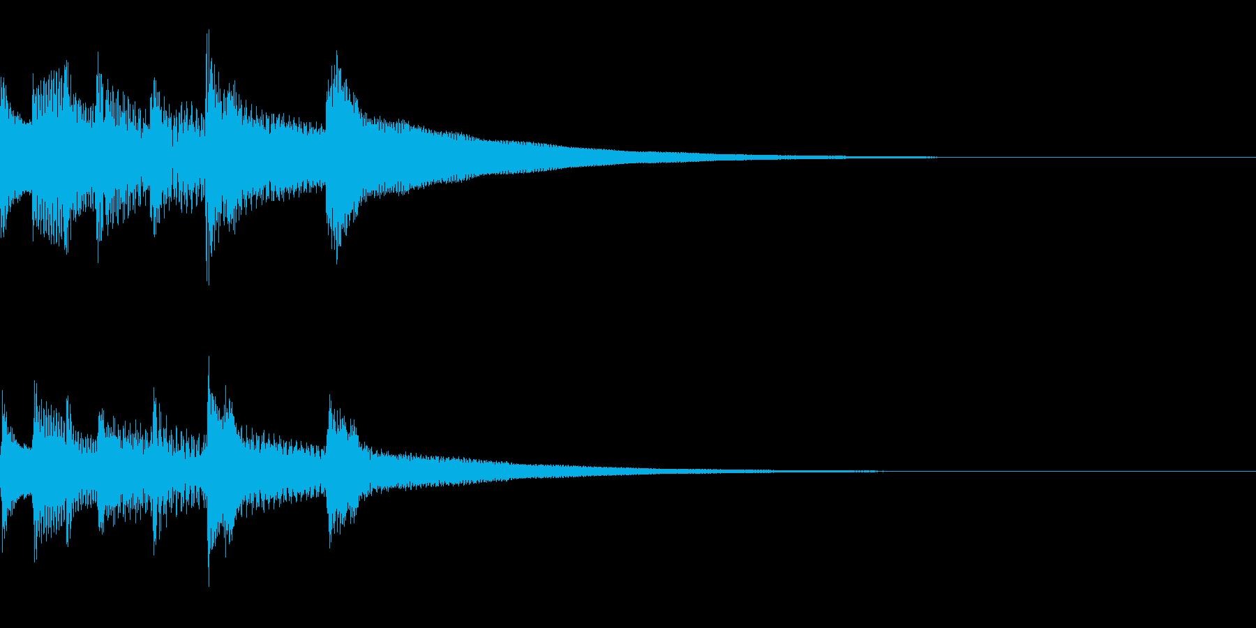 木琴とクラクションの場面転換ジングルの再生済みの波形