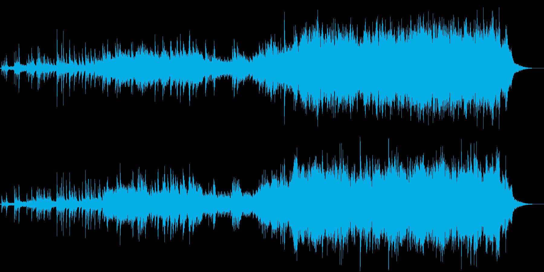 優しく感動的なメロの弦とピアノ曲の再生済みの波形