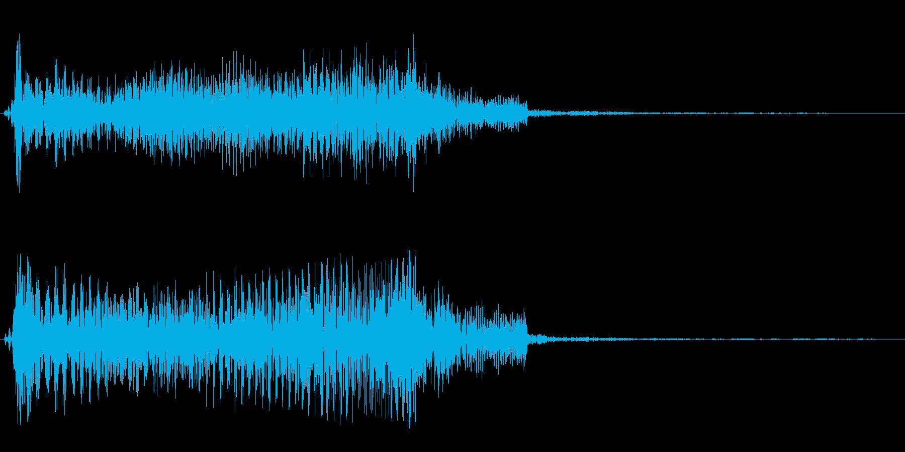 バネがキューンと伸びて縮む音の再生済みの波形
